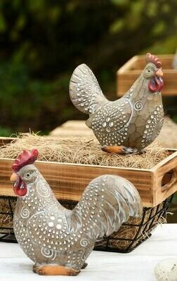 Set 2 zittende kippen naturel