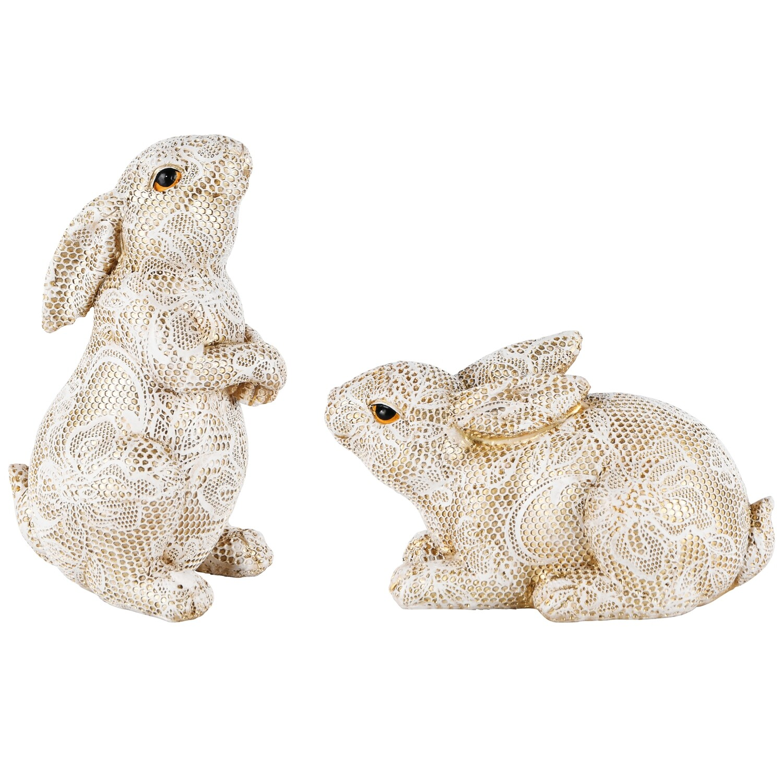 Set 2 konijntjes kant goud/wit