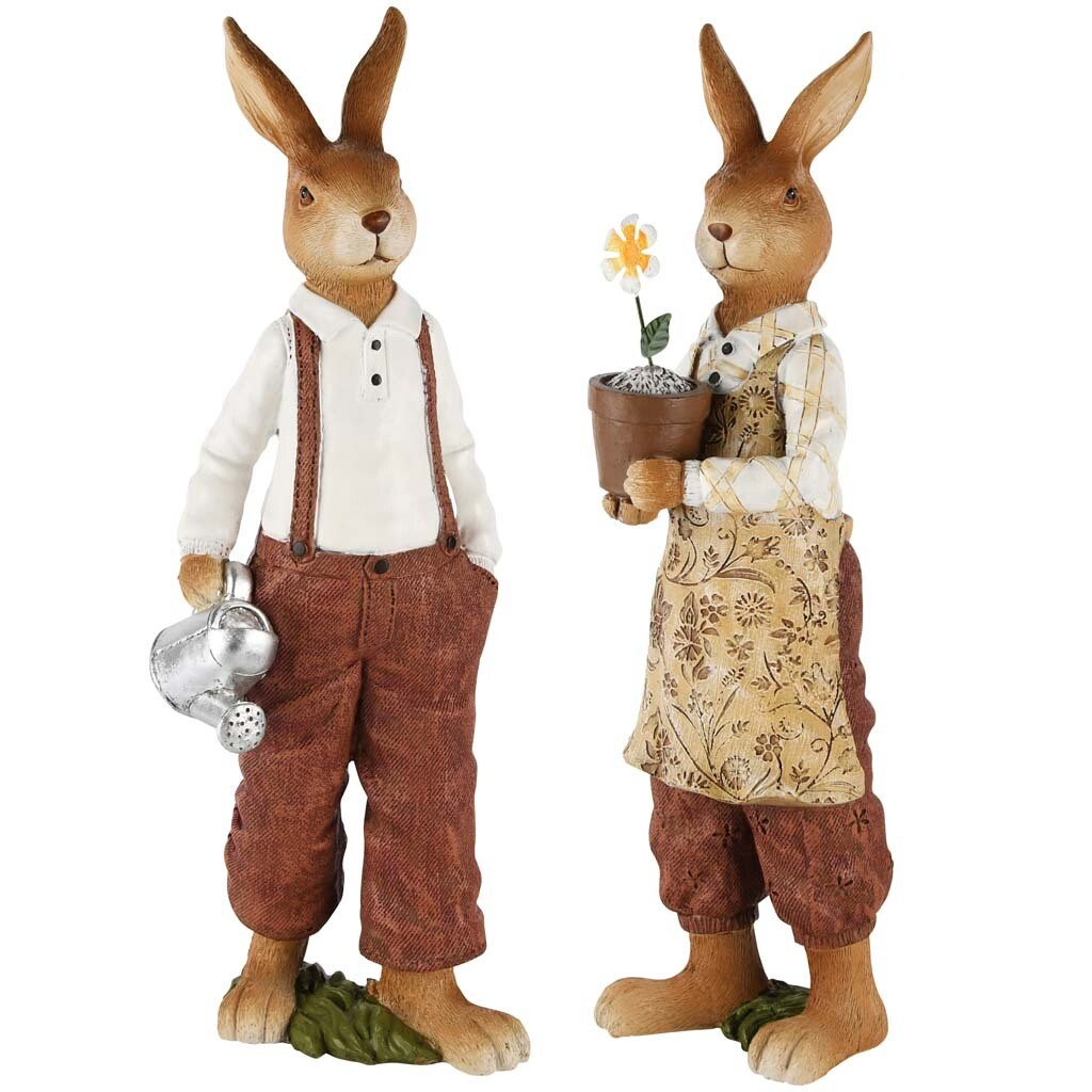 Set 2 bunnies met gieter & bloempot