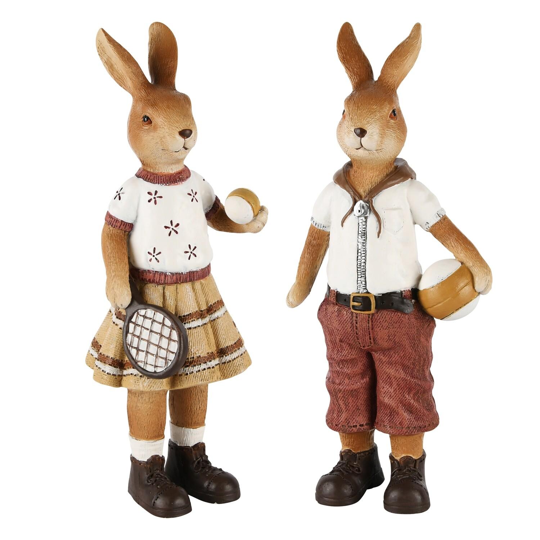 Set 2 bunnies met bal & tennisracket