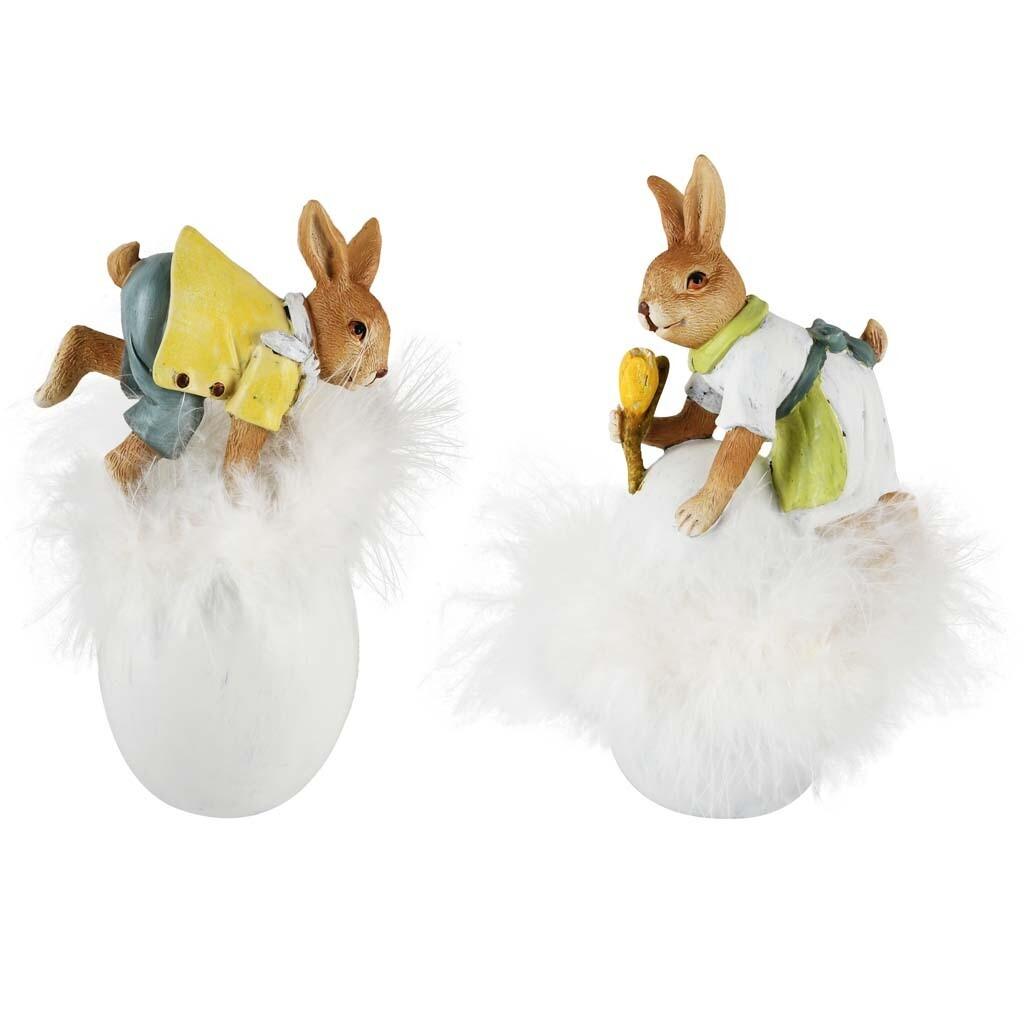 Set 2 bunnies op ei wit/geel/groen