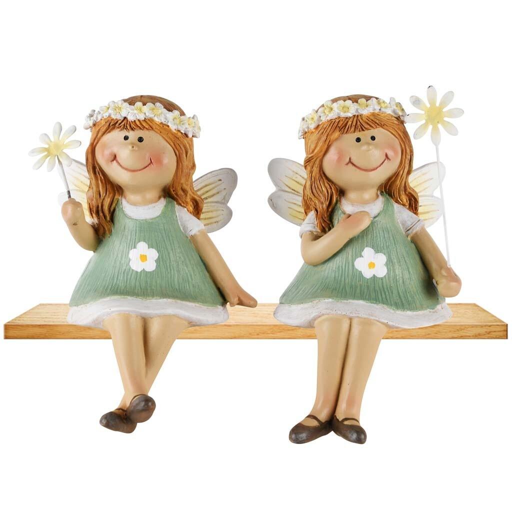 Set 2 bloemenmeisjes zittend