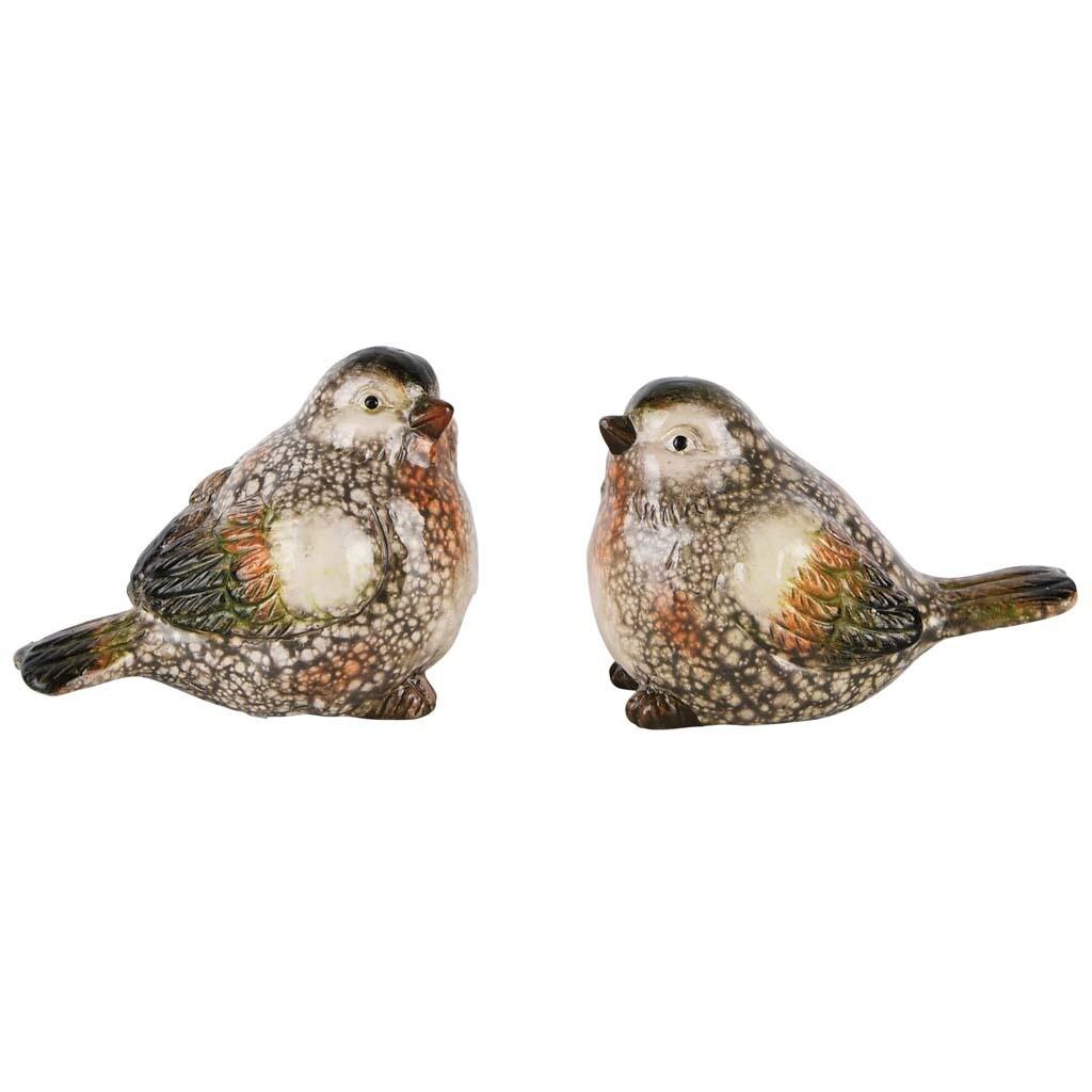 Set 2 vogeltjes groen marbré small