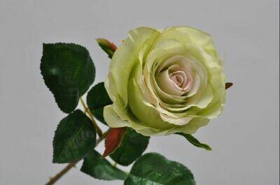 Roos steel met blad groen/roze 49 cm