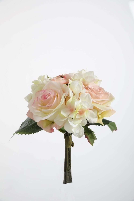 Gemengd boeket rozen/hortensia 22 cm