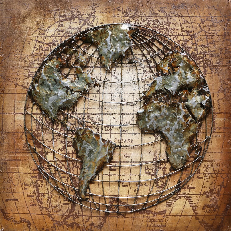 Schilderij metaal wereldkaart
