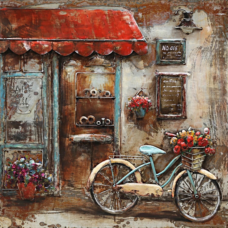 Schilderij metaal fiets