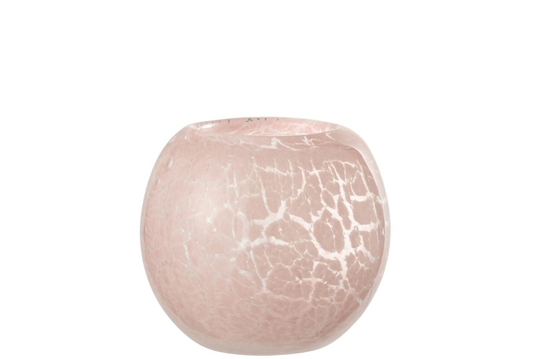Theelichthouder Vlekken Glas Roze Small