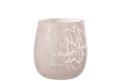 Theelichthouder Vlekken Glas Roze Medium