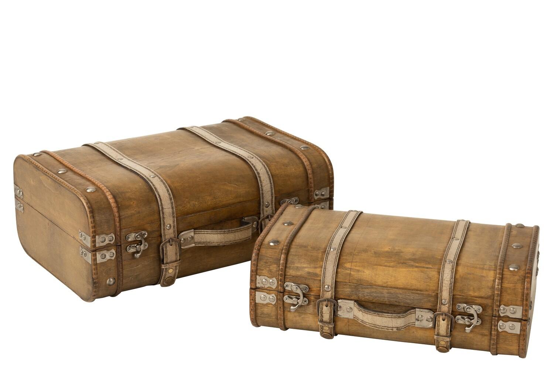 Set Van 2 Koffers Afgerond Hout Beige