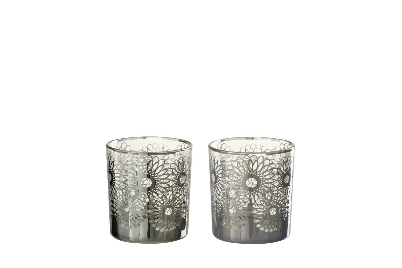 Theelichthouder Zonnebloem Glas Zilver Small