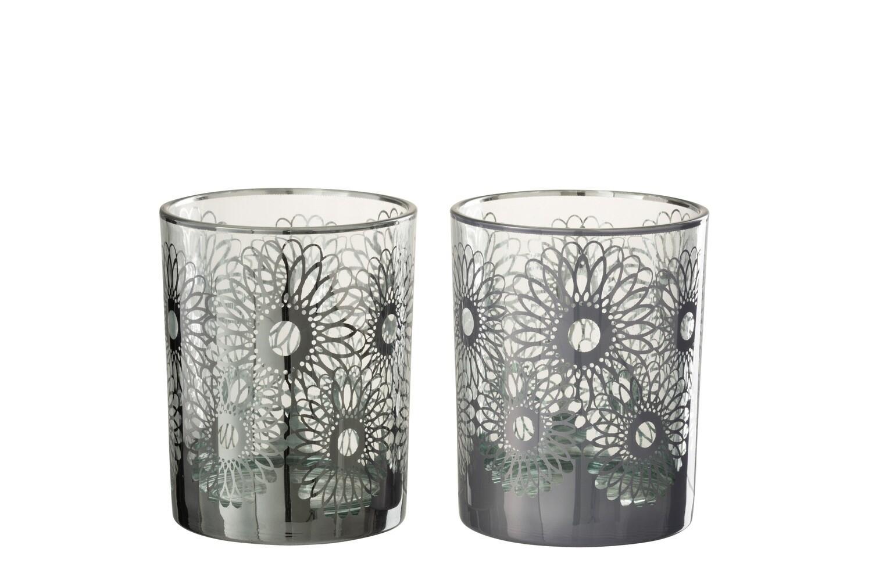 Windlicht Zonnebloem Glas Zilver Medium
