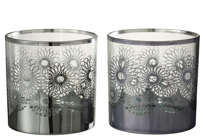 Windlicht Zonnebloem Glas Zilver Large