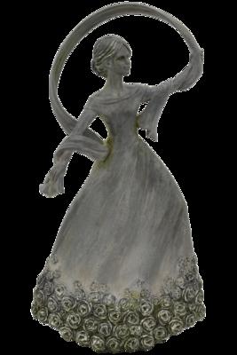 Deco dame met bloemenjurk staand grijs