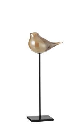 Vogel Op Voet Glas/Ijzer Amber Large