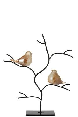 Vogels In Boom Glas/Ijzer Amber