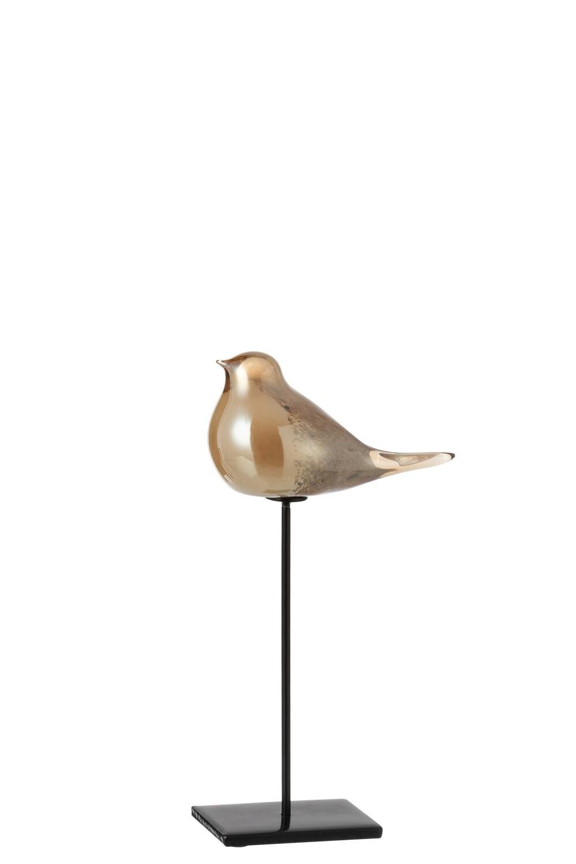 Vogel Op Voet Glas/Ijzer Amber Small