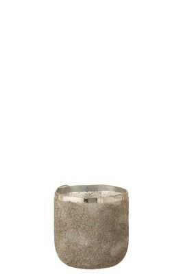Theelichthouder Frosty Rond Glas Zilver Medium