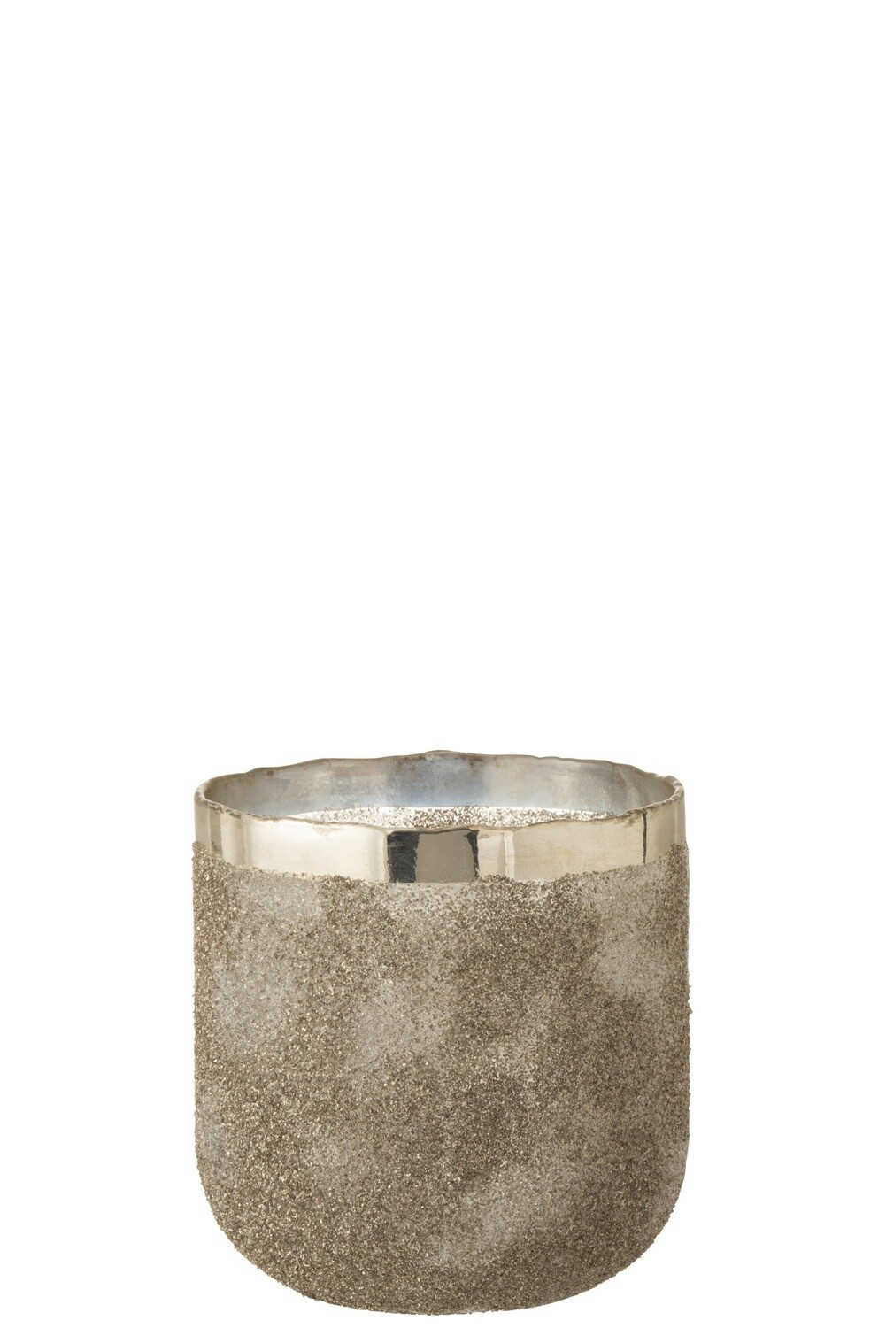 Theelichthouder Frosty Rond Glas Zilver Large