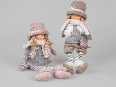 Set 2 kindjes zittend textiel grijs/roze