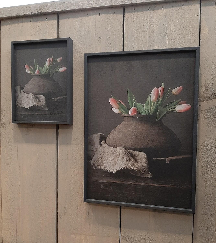 Ingelijst stilleven tulpen klein (links)