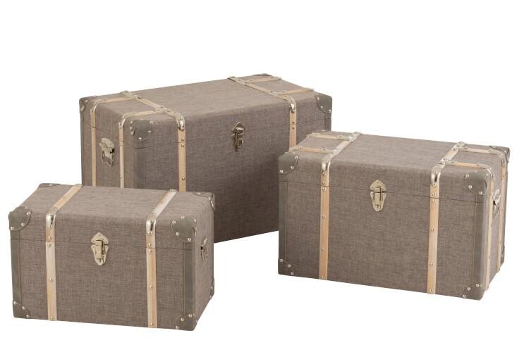 Koffer rechthoek hout/textiel licht grijs large