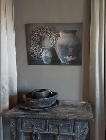Schilders paneel 2 stenen potten 60 x 80 cm