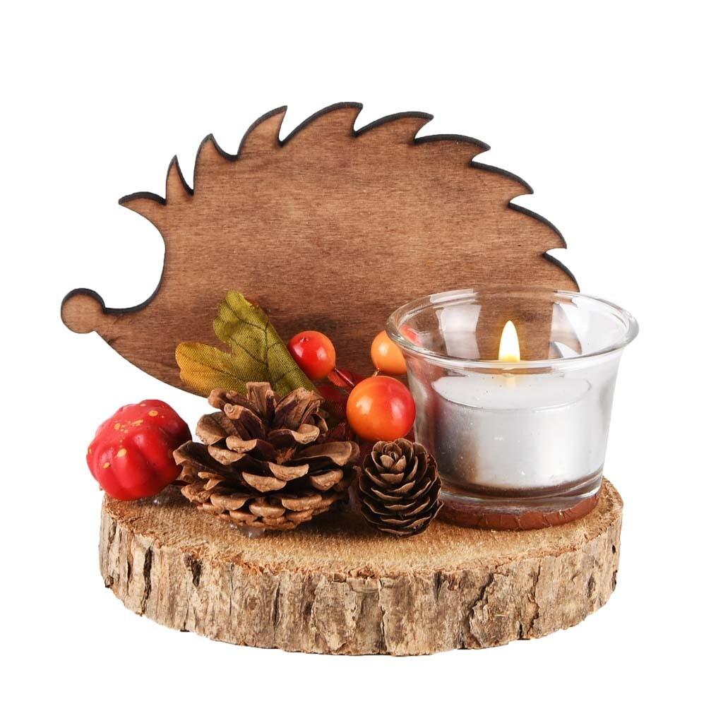 Tafelstukje rond met egel oranje/bruin