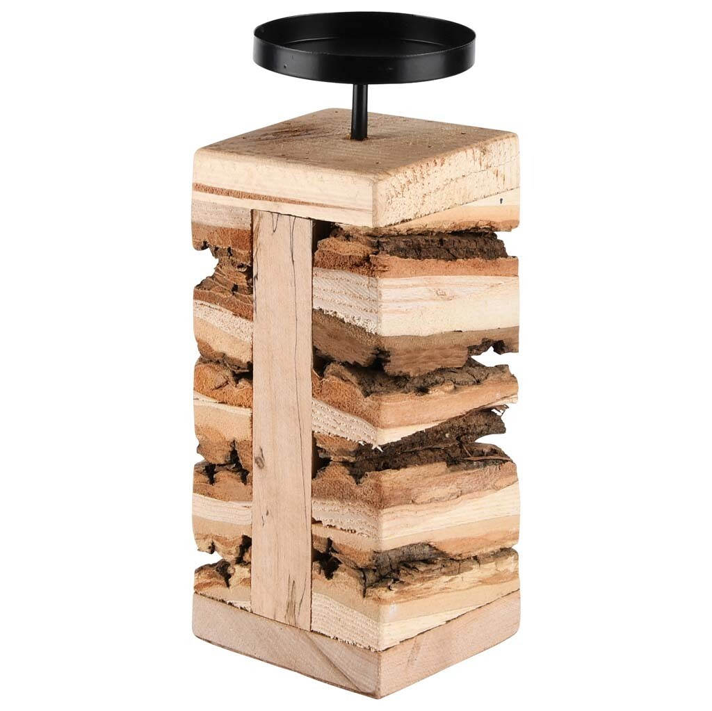 Kaarsenhouder hout/metaal groot