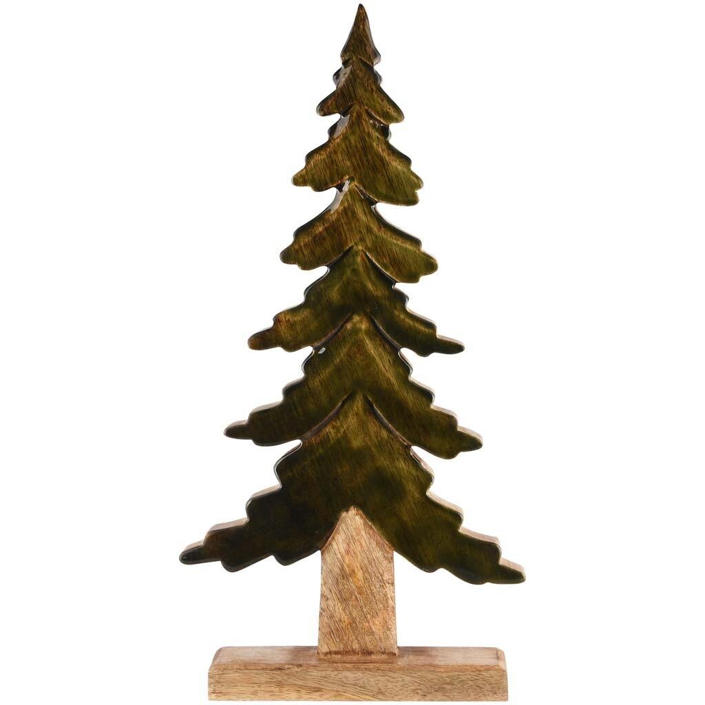 Deco boom groen/naturel hout groot