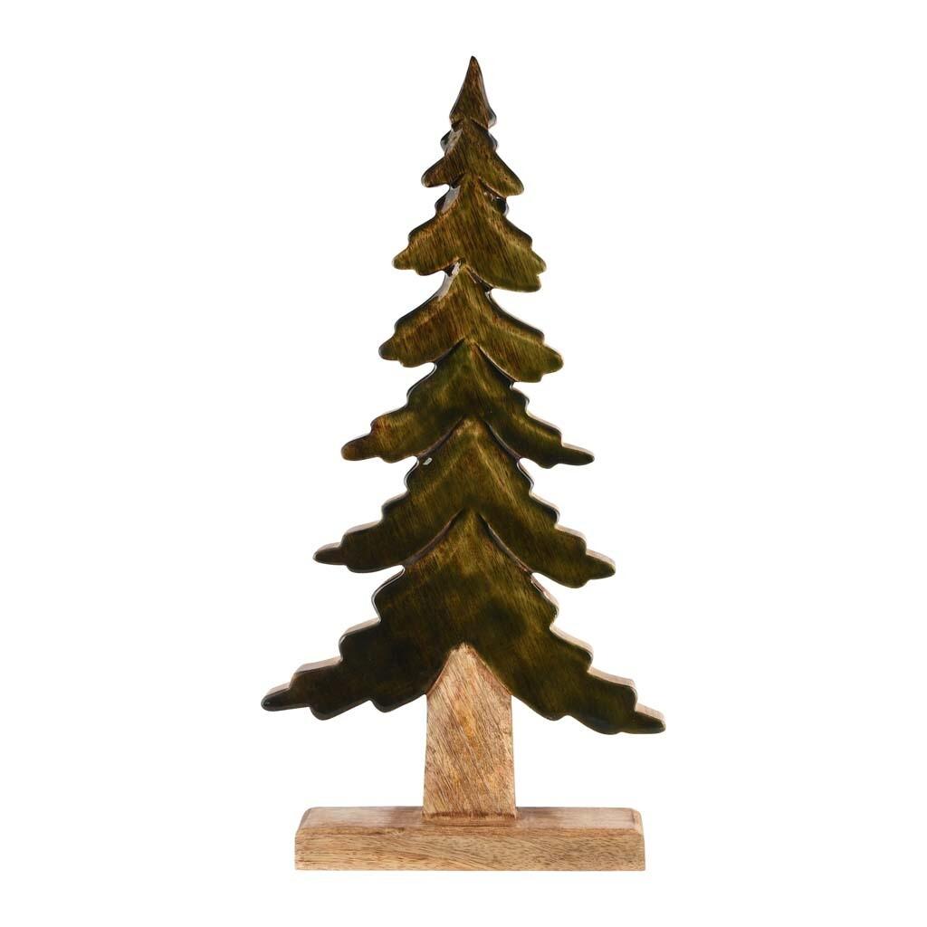 Deco boom groen/naturel hout klein