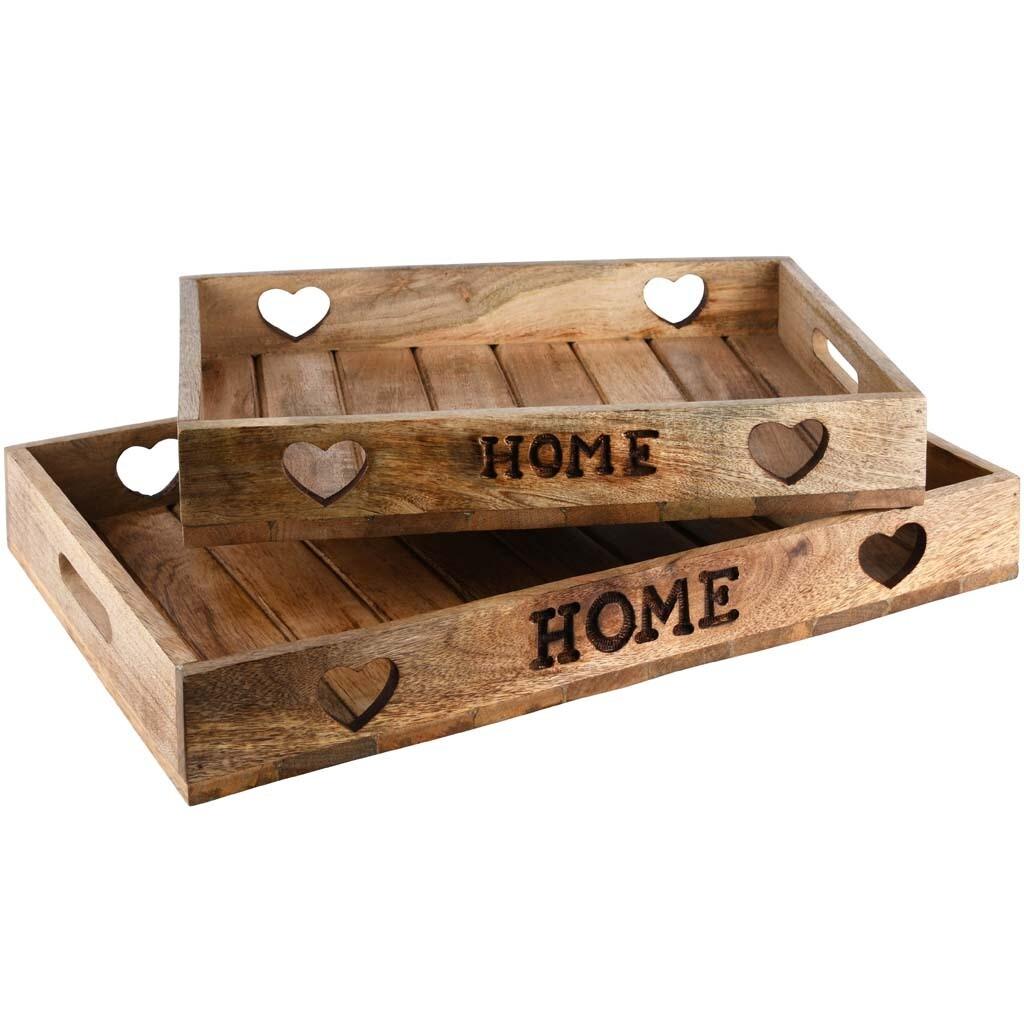 Dienblad 'Home' hout naturel groot