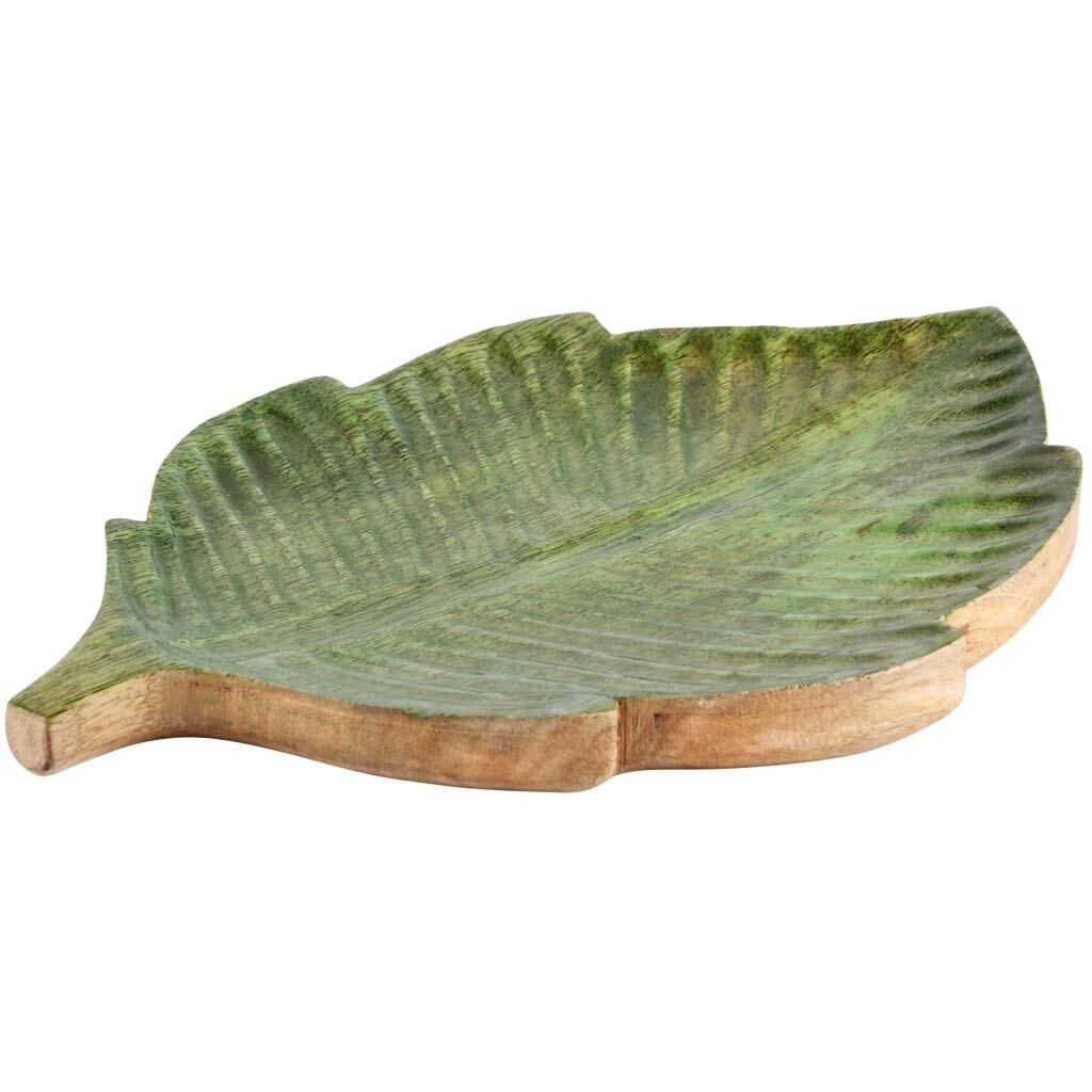 Schaaltje blaadje groen/naturel hout