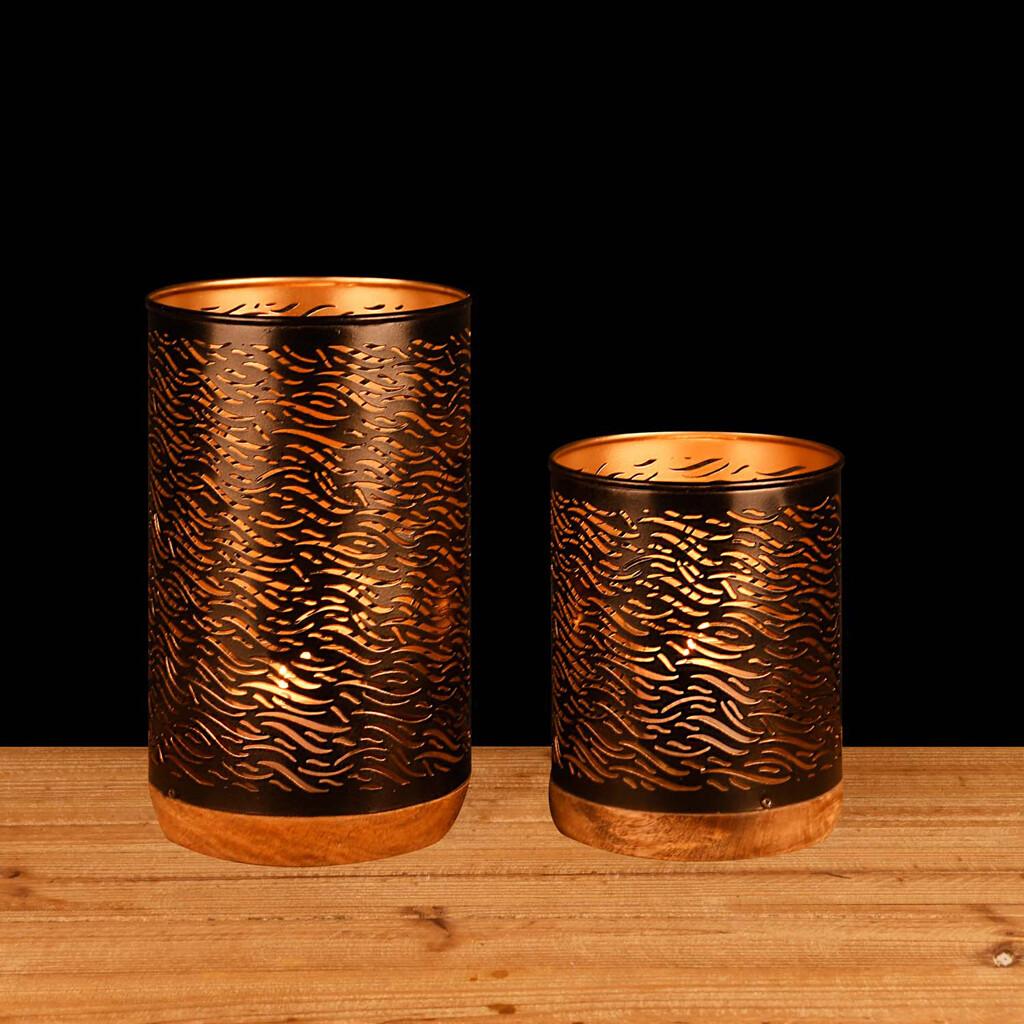 Set 2 kokers 'Wild Life' zwart/goud