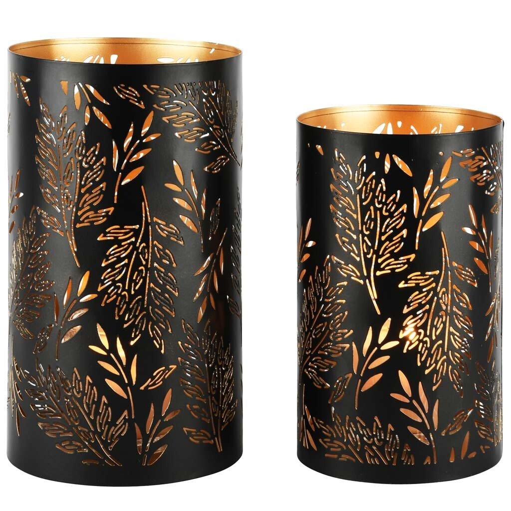 Set 2 kokers 'Herbarium' zwart/goud
