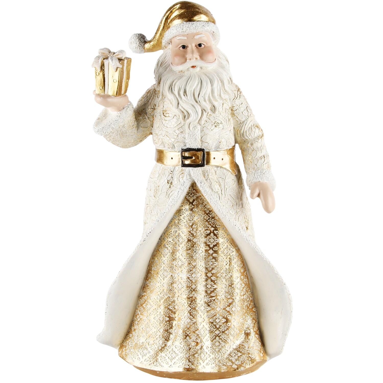 Santa met cadeautje wit/goud
