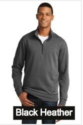 New Era Embroidered Men's 1/4-Zip Pullover Tri-Blend Sweatshirt (Black Heather)