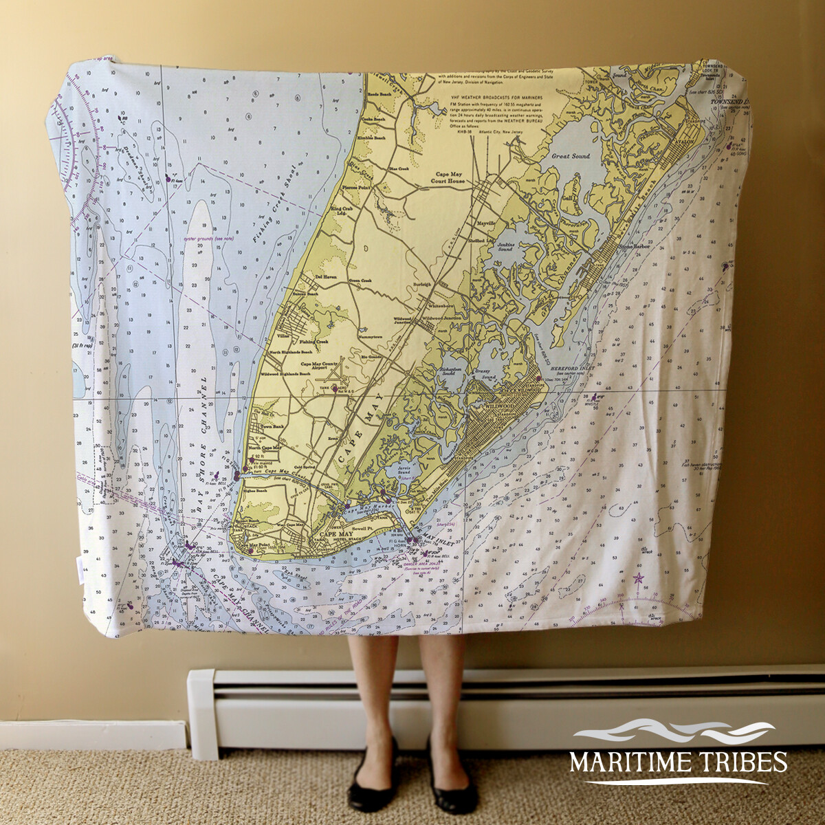 Custom Cape May Nautical Chart Map Fleece Throw Blanket