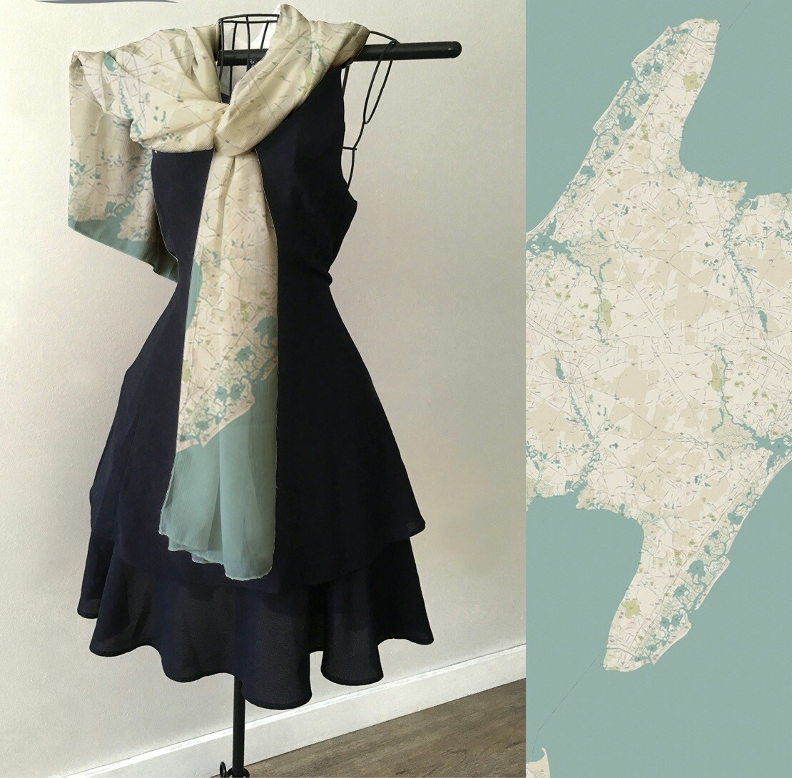 Custom Cape May Map Sheer Scarf