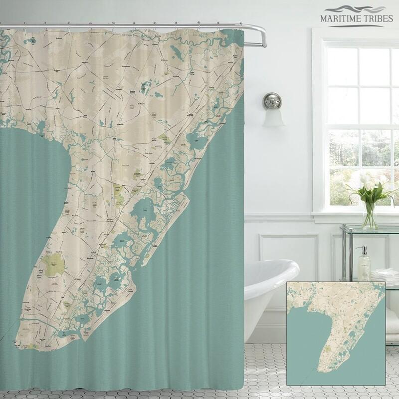 Custom Cape May Map Shower Curtain