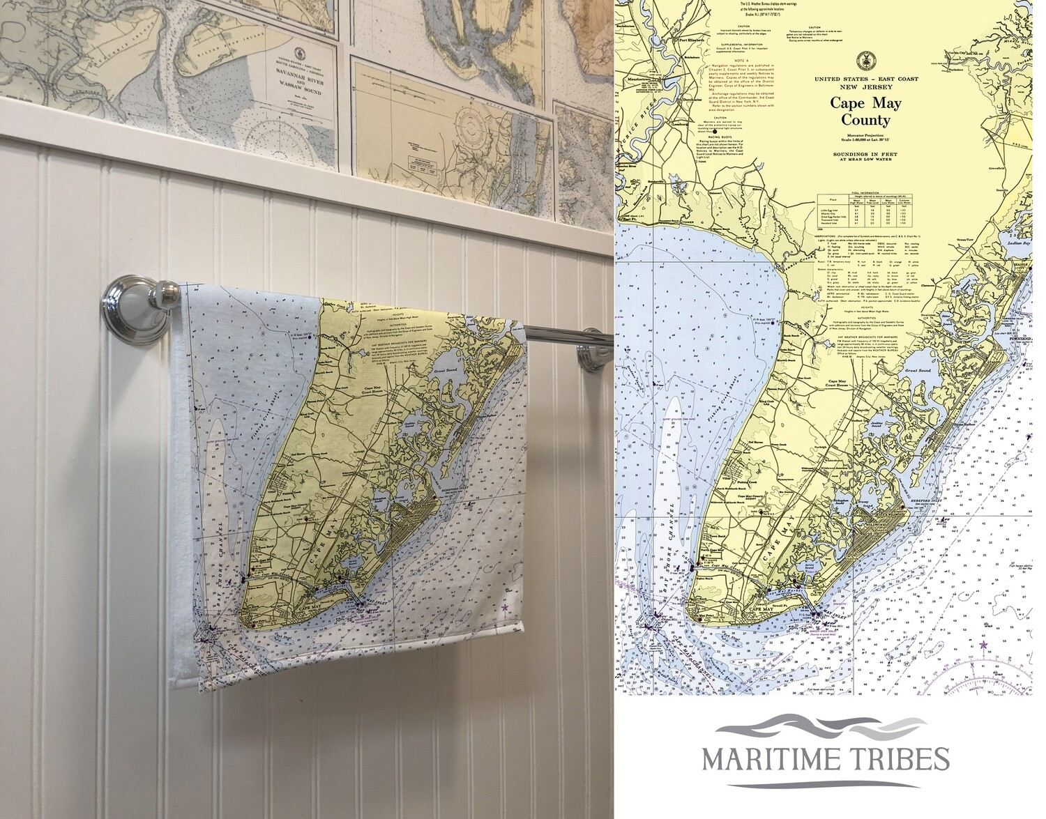 Custom Cape May Nautical Chart Map Hand Towel