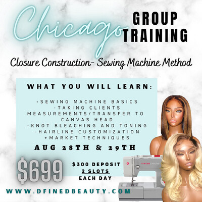 """CHICAGO Group Training using """"The Sewing Machine Method"""" (2 students Each class)"""
