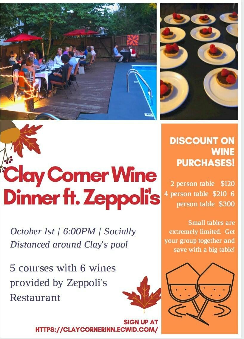 Zeppolis Wine Dinner Table for 6