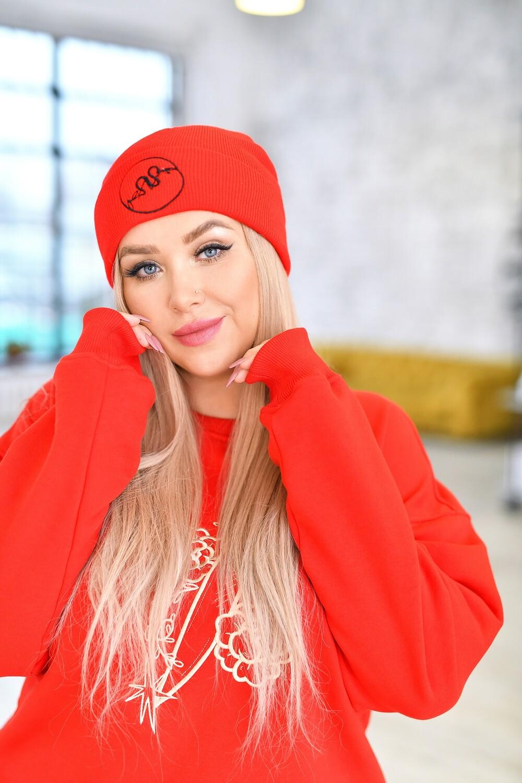 Шапка красная с лого «Natalina»