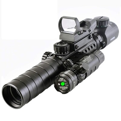 Luger Tactical 3-9x32 Scope, Holographic Sight, Laser Combo