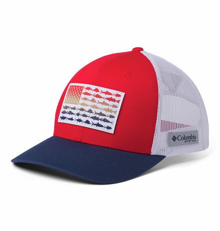 1837001696 PFG Mesh Snap Back  Fish Flag Ball Cap