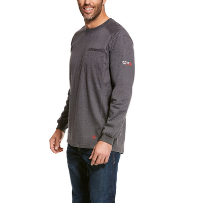 10027888 MNS FR AIR CREW LS T SHIRT CHARCOAL HTHR