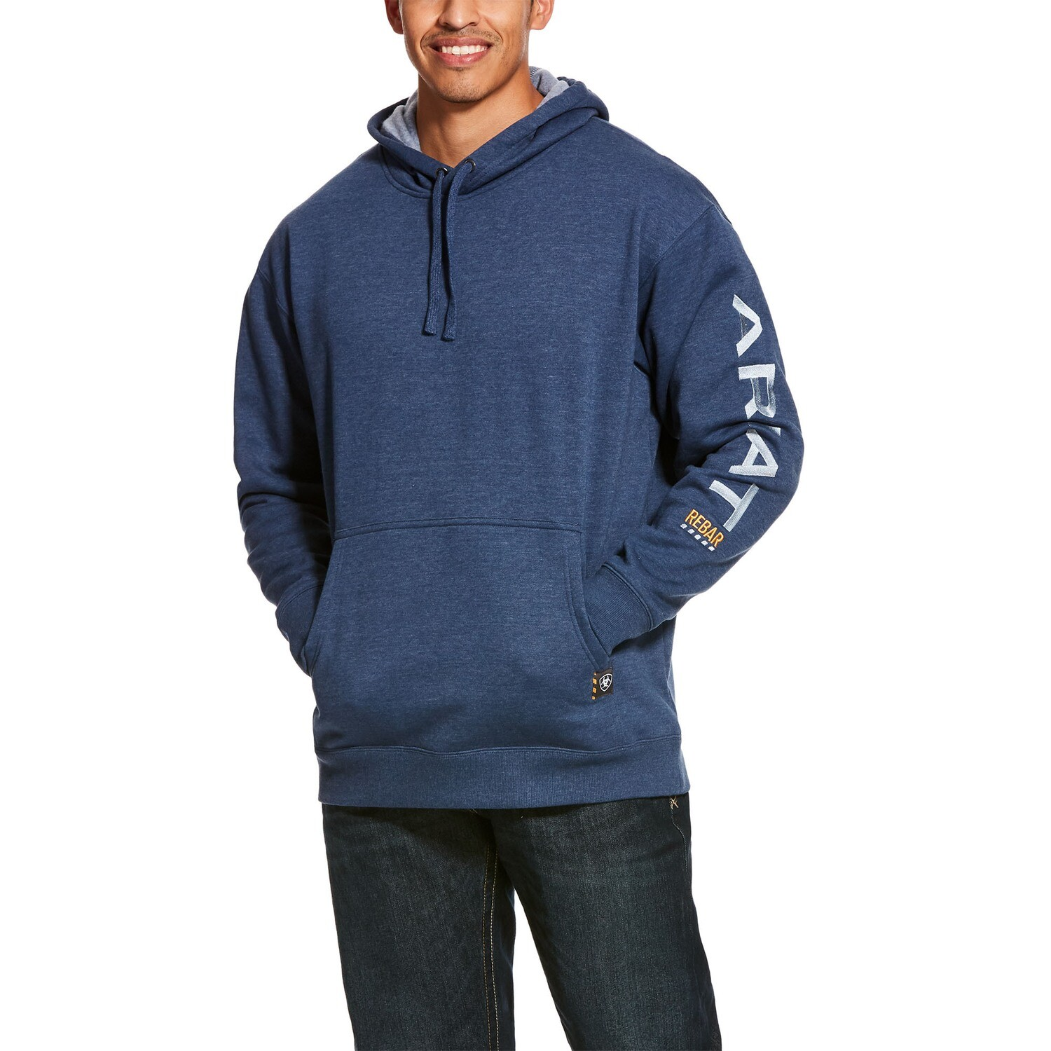 10027816 MNS REBAR GRAPHIC HOOD NAVY HEATHER