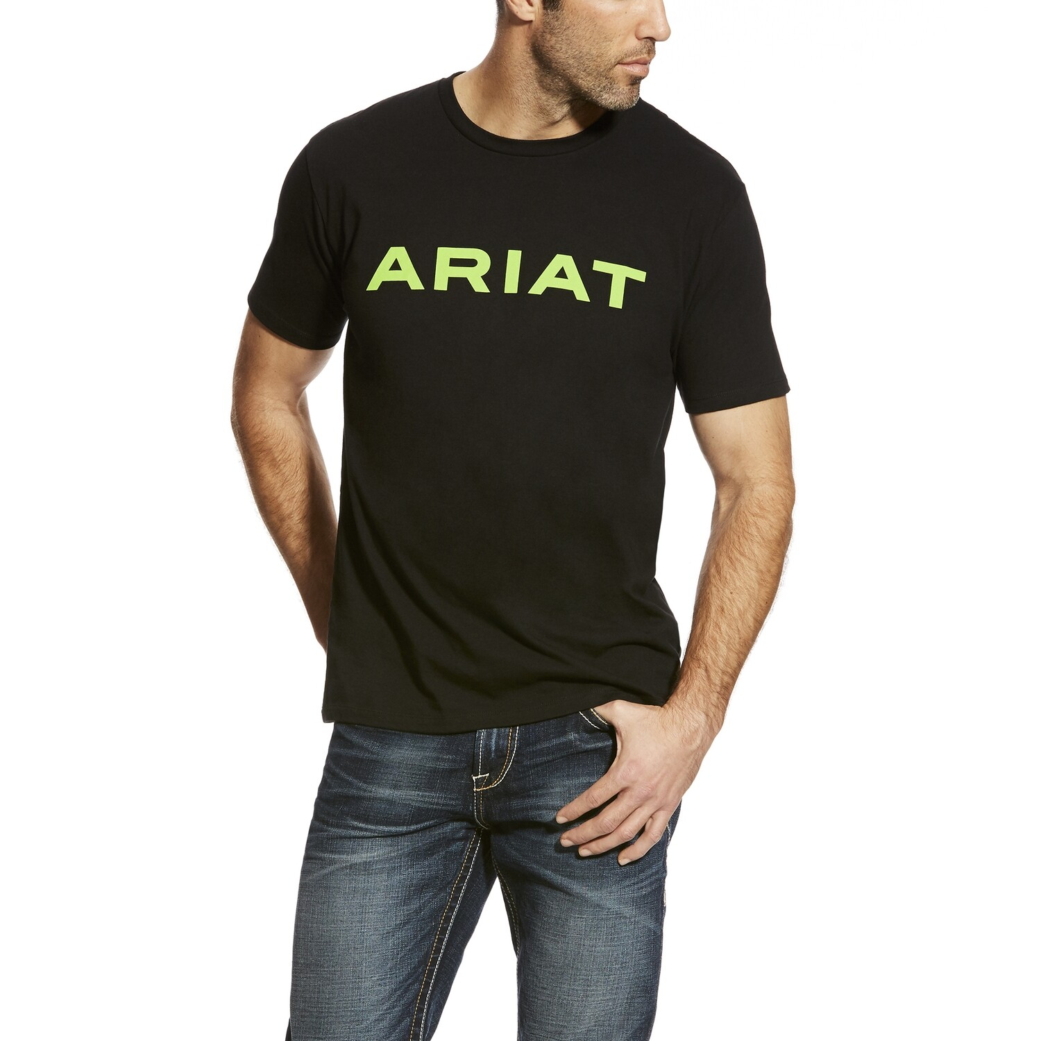 10025206 MNS BRANDED T SHRT BLACK LIME