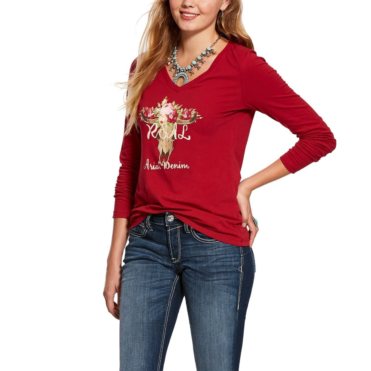 10028273 WMS REAL ROSE SKULL LS SHRT LAYLOW RED